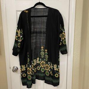 Open Front Black Kimono Cardigan